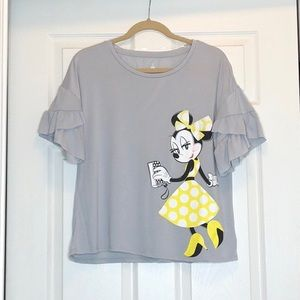 Disney Grey Ruffle Sleeve Minnie Mouse Top NWT